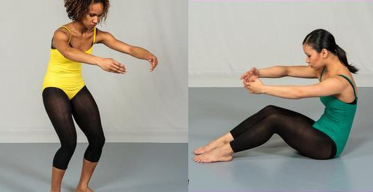 Example of a modern dance contraction - image from 'Beginning Modern Dance' by Miriam Giguere