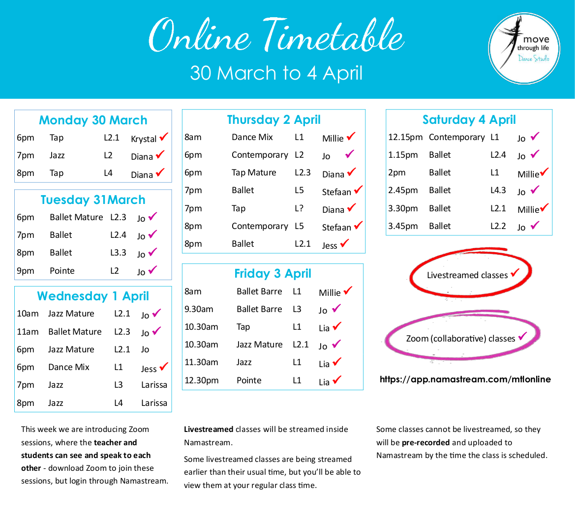 Timetable for online dance classes with Move Through Life Dance Studio